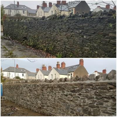 Random stone walling, Rebuild using original stone.